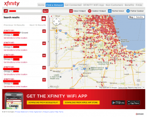 Xfinity Neighborhood WiFi HotSpot Search Results