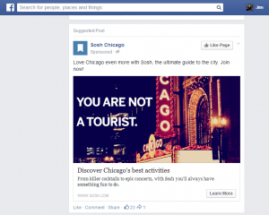 "The ""Suggested Post"" by Sosh Chicago on Facebook that shows success for The Local Tourist"